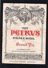 POMEROL 1ER GCC VIEILLE ETIQUETTE CHATEAU PETRUS 1929 75 CL  §13/01§