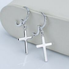 18k White Gold Filled Lady Cross Earrings Fashion Dangle Charming Jewelry Gift