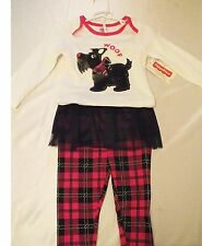 NEW FISHER PRICE PINK SCOTTIE DOG SHIRT & PLAID TUTU PANTS SET BABY 18 MONTHS