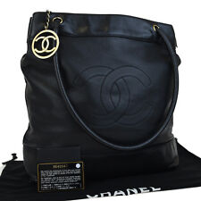 Authentic CHANEL CC Logos Shoulder Tote Bag Leather Black Italy Vintage 10F320