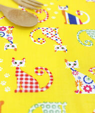 Yellow cats Cotton blend Remnant  fabric 110 x 22.5cm Quilting fabric off cut