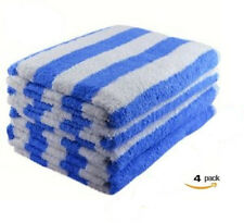4 NEW WHITE/ BLUE COTTON HOTEL  30X60 CABANA TOWELS POOL TOWEL BEACH TOWEL 12#