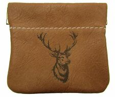 New Leather Engraved Deer Squeeze Coin Pouch Change Purse USA Made