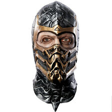 Deluxe Adults Scorpion Mortal Kombat Fancy Dress Accessory Overhead Latex Mask