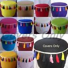 round Footstool ottoman cover pouf floor pouffee cotton tassels draw string