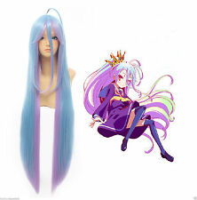 Anime No Game No Life Shiro 90cm Mixed Blue&Purple Fade Cosplay hair Wig