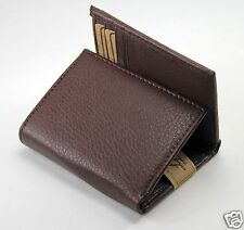 New Mens Trifold Grain Leather Wallet Case Credit Card Window ID License Brown