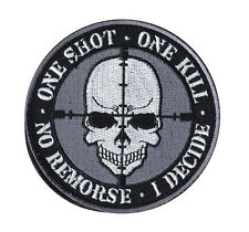 One Shot One Kill Skull Tactical Morale Velcro Patch PV00212-33