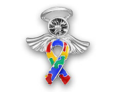 Autism Ribbon held by an Angel Pins (Wholesale Pack -15 Pins) FREE SHIPPING