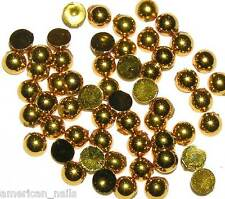 50 bijoux strass d'ongles Nail Art demi bulles Or 3 mm