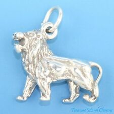 ROARING AFRICAN LION BIG CAT 3D .925 Solid Sterling Silver Charm