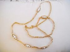 "24"" LONG COMBO FAUX PEARL BEAD/GOLDTONE METAL LINK NECKLACE"
