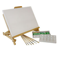 21-Piece Acrylic Painting Set with Table Easel, Canvas, 12 Colors & Brushes