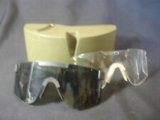 Old Vtg MSA Military Eyewear Carrying Case and Protective Glasses Green