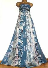 MONSOON ✩ STUNNING YURI BLUE / SILVER SILK MAXI EVENING LONG DRESS ✩ UK SIZE 10