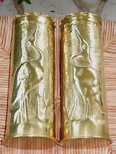 Nice Pair of Antique WW1 Shell Casing Trench Art Hammered Copper - Heron pattern