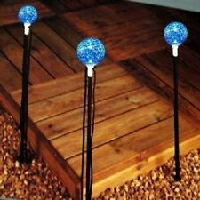 Alpha exterior lighting set 3 x low voltage blue LED Glitter ball lights set
