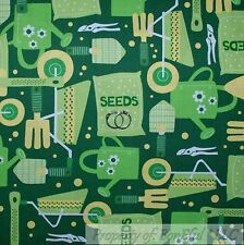BonEful Fabric FQ Cotton Quilt Green Vegetable Seed Pack Flower Word L Retro Dot