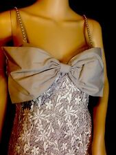 Antique LACE Pearl Adjustable STRAPS Social Gown Formal Dance DRESS Sz M