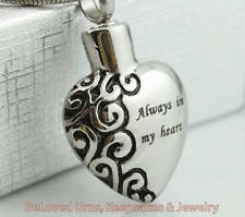 """Always In My Heart"" Cremation Jewelry Pendant Keepsake Memorial Urn Necklace"