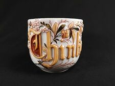 "FABULOUS ANTIQUE GERMAN REMEMBERANCE SHAVING MUG RAISED LETTERING ""THINK OF ME"""