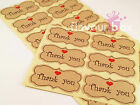 60x Thank You Kraft Seal Stickers Baby Shower Favour Wedding Bomboniere Tags