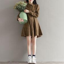 Japanese Mori Girl Retro Plaid  Loose leng sleeeve Dress women shirt collar