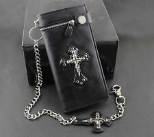 Men's Punk Skulls Cross ID Card Money Black Leather Zipper Wallet With A Chain