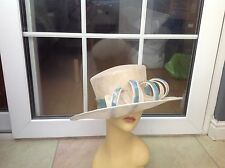 LADIES CREAM WIDE BRIM HAT FOR WEDDINGS/RACES/SPECIAL OCCASIONS,GOOD CONDITION