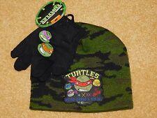 BOYS TEENAGE MUTANT NINJA TURTLES (TMNT) HAT / CAP & GLOVES SET (New With Tags)