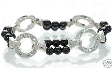 Joseph Esposito Diamonique Solid 925 Sterling Silver Onyx Stretch Bracelet '