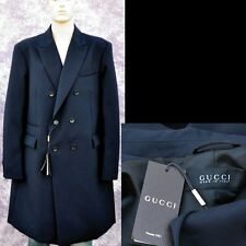 GUCCI New sz 58 - 48 R Authentic Mens Designer Wool Jacket Coat Overcoat Navy