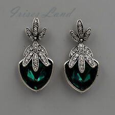 Antique Silver Tone Emerald Green Crystal Rhinestone Drop Dangle Earrings 08246