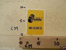 STICKER,DECAL FULDA BANDEN TYRES 195/70 HR13