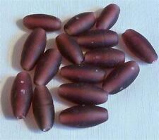 PACK OF 15 DARK MAUVE OVAL LAMPWORK BEADS - 15mm x 8mm...................LW149 *
