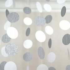 Circle Dots Paper Garland 10 Ft White and Silver Glitter Party Decoration Banner