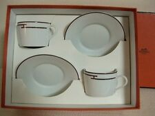 "NEW Authentic HERMES ""Rythem"" Porcelain 2 Set  Cup and Saucer  'red'"