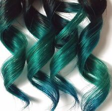 Teal Green Blue 100% Human Hair Clip In Ombre Dip Dye Extensions Kawaii Style