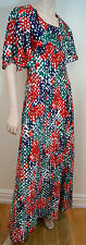 COURTAULDS DICEL DEBENHAMS Vintage Multi Colour Geometric Print Maxi Dress UK12