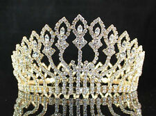 FLORAL FULL CROWN AUSTRIAN RHINESTONE CRYSTAL TIARA PAGEANT PROM LG -GOLD T1406G