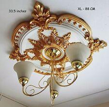 85CM GRAND Plafond Rose beau doré orné Décor Maison Médaillon énorme CR7G-XL