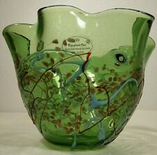 Viz Glass Bowl Hand Blown Decorative Artisan Green Splatter Swirl Copper Sparkle