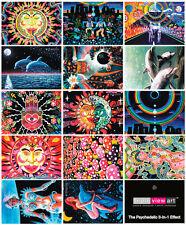 14 Cartes Postales UV Lumière Noire Fluo Brille Dans Le Noir Art Psychédélique
