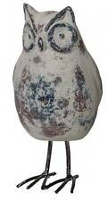 Rustic Gray Standing Ceramic Owl With Metal Feet