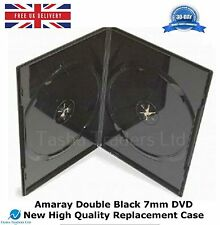 5 Double Black Amaray 7 mm DVD High Quality Holds 2 Disks New Replacement Case