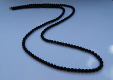 """36"""" LONG BLACK GLASS BEAD BEADED NECKLACE BD SINGLE LONG STRAND OR WEAR DOUBLE"""