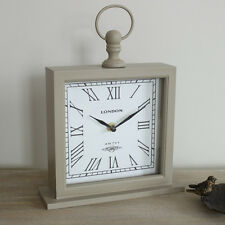 square grey wooden mantel clock vintage style home accessory shabby rustic gift