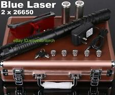 Powerful Adjustable Focus Blue Laser Pointer Lazer Pen Laser Torch Burn+ 2x26650