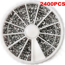 2400PCS 1.5mm 3D Rhinestones Glitter Diamond Gems Nail Art Tips Decoration Wheel
