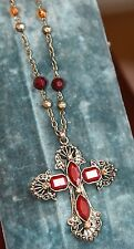 """CROSS NECKLACE VINTAGE STYLE SILVER TONE METAL RED FACETED GLASS RHINESTONE 16"""""""